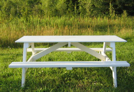 here is the finished picnic table built with plans featured here